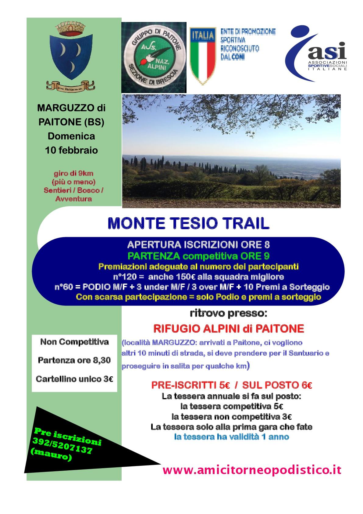 volantino gara 5 - Monte Tesio trail - 2019 amici torneo podistico