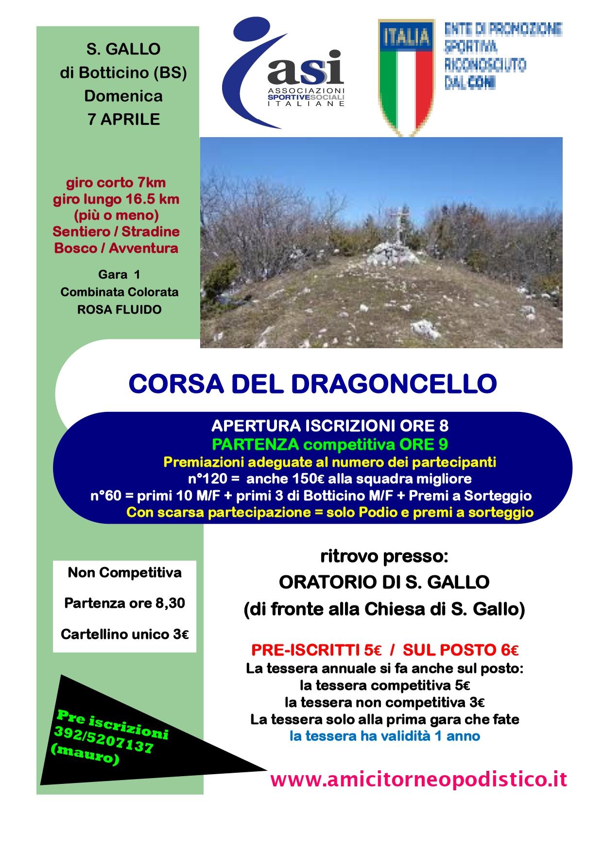 Gara 13 - CORSA DEL DRAGONCELLO volantino