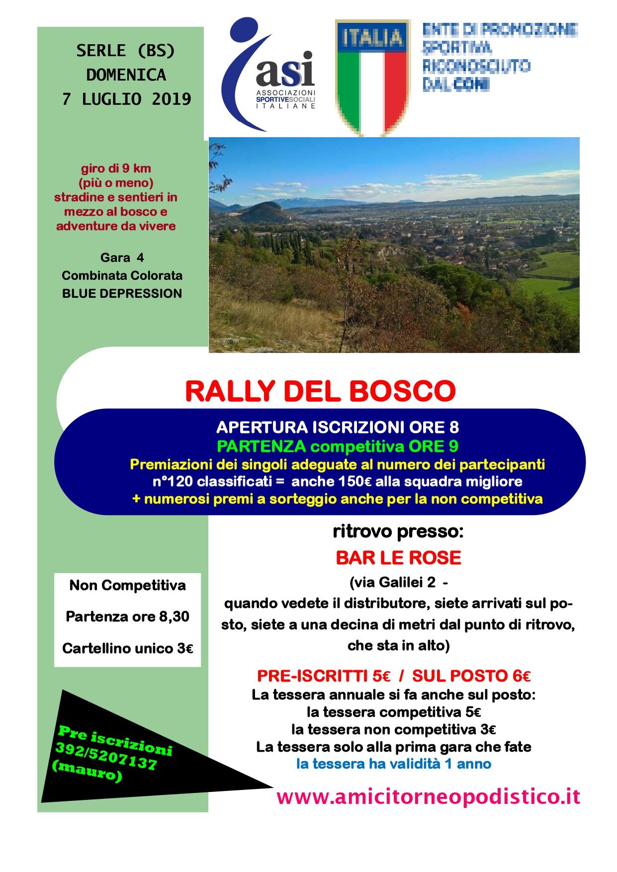 volantino gara 28 rally del bosco 7 luglio 2019