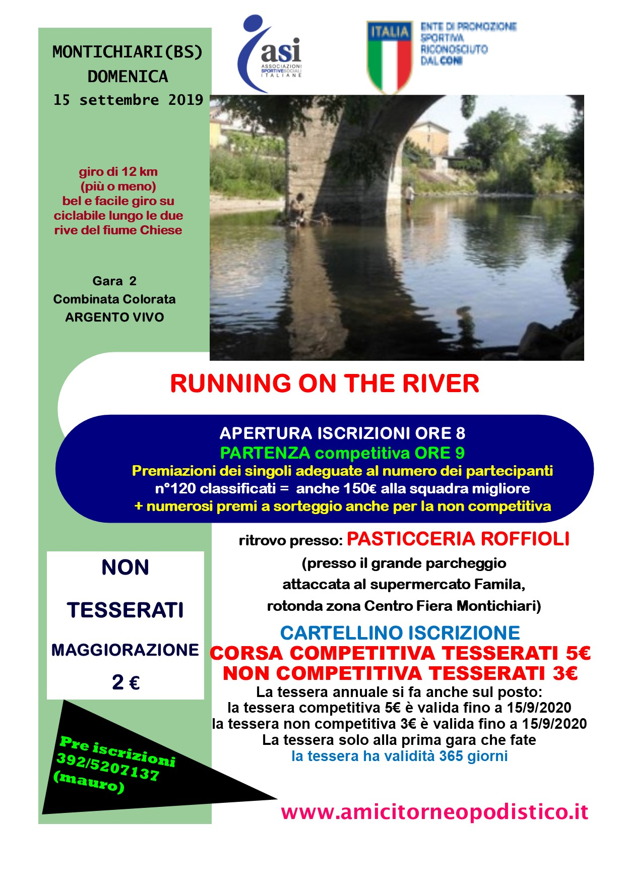 gara 38 RUNNING ON THE RIVER montichiari volantino