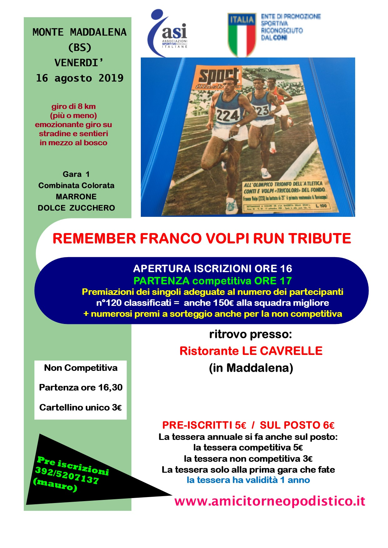 volantino gara 33 amici torneo podistico 2019 remember Franco Volpi Run Tribute