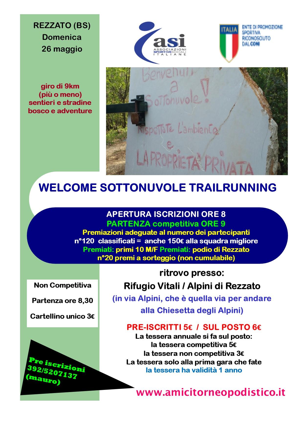 volantino Gara 22 - WELCOME SOTTONUVOLE TRAILRUNNING