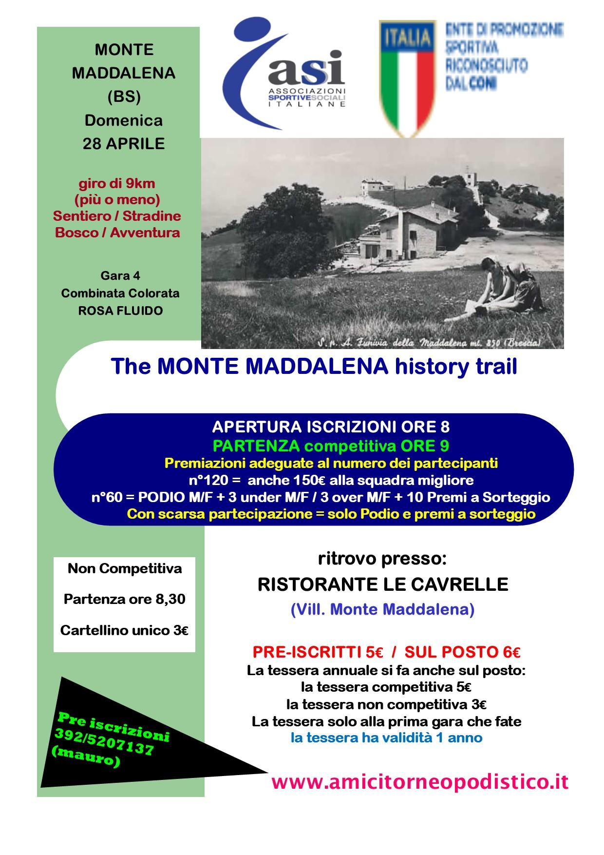 volantino Gara 17 - The MONTE MADDALENA history trail