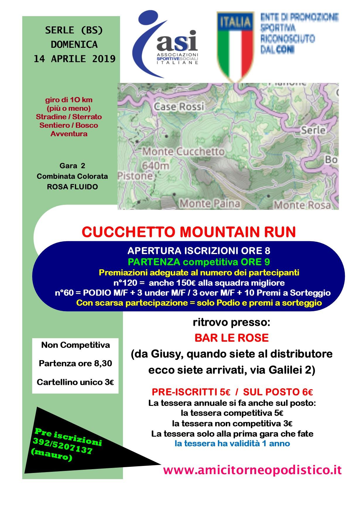 Cucchetto mountain run volantino gara 14 amici torneo podistico