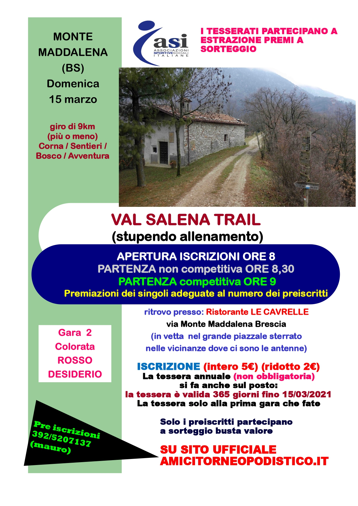 volantino gara 7 Val Sedena Trail Amici torneo podistico 2020